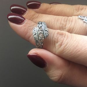 Sterling silver and marcasite size 7.5 ring